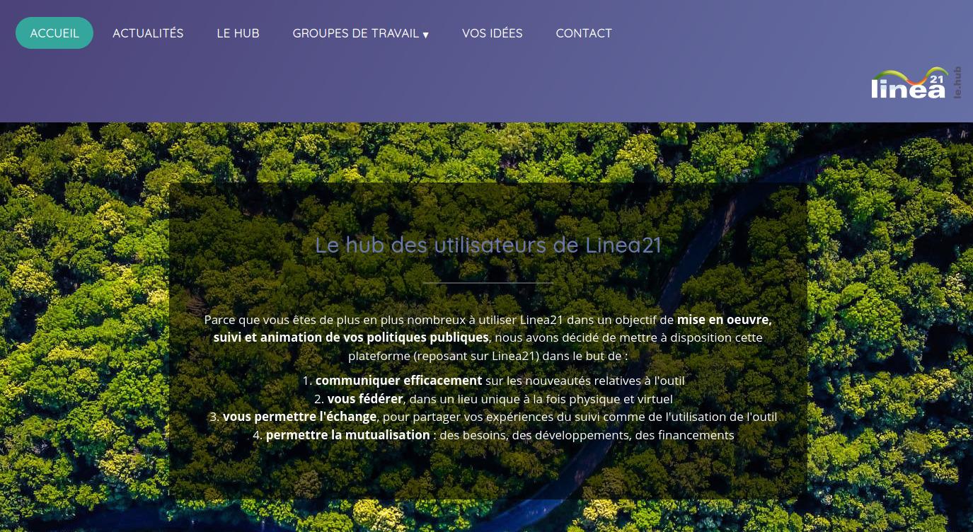 Page d'accueil du hub