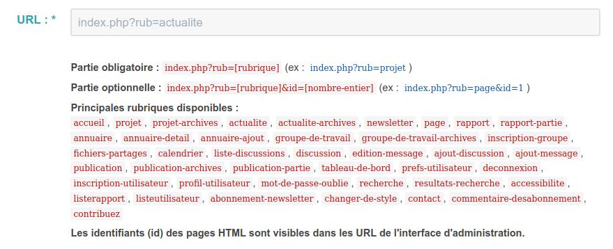 syntaxe du plugin de menu